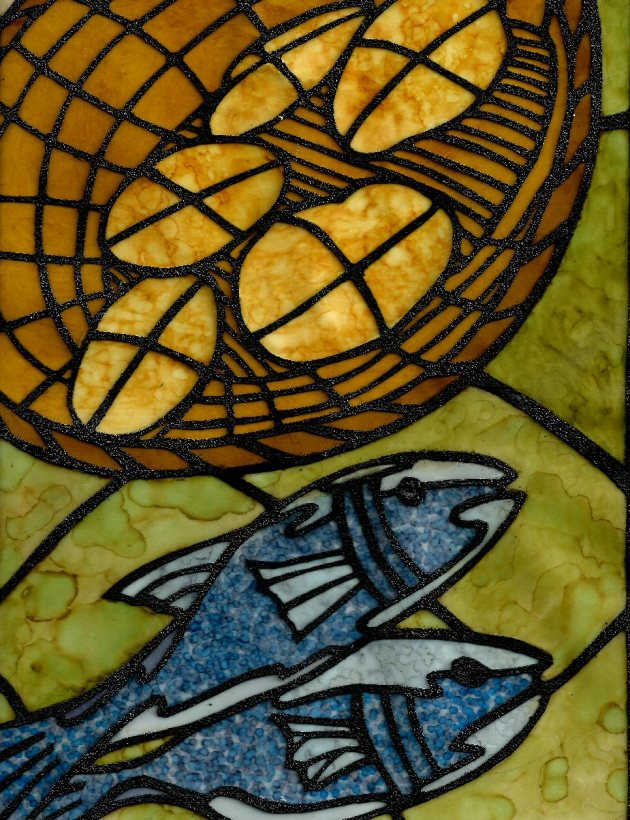 Loaves and FIshes Faux Stained Glass