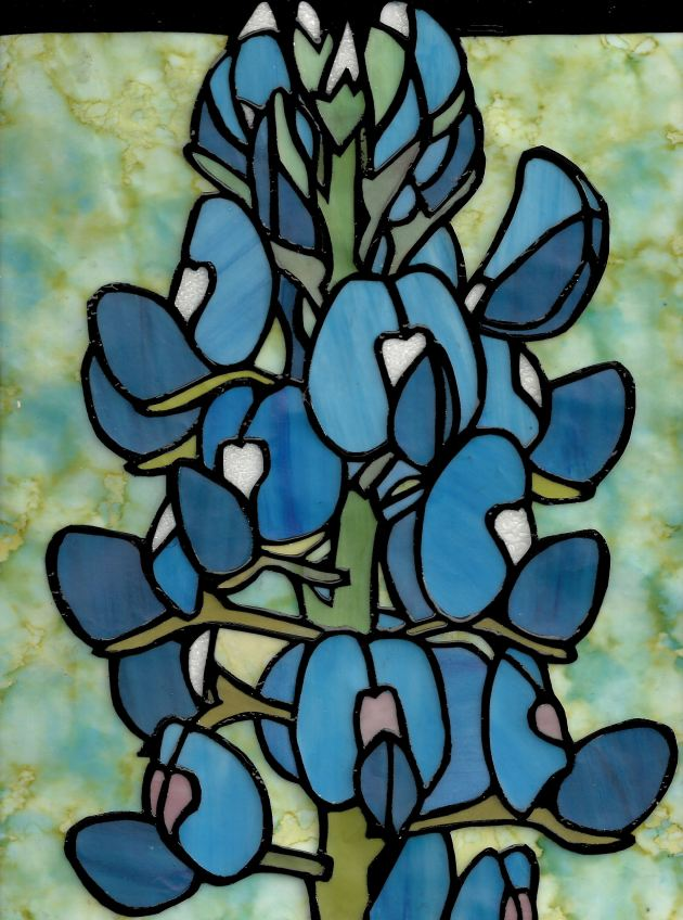 Bluebonnets Faux Stained Glass